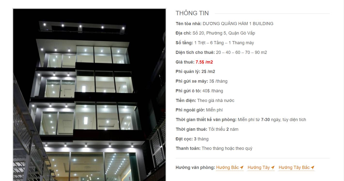Danh sách công ty thuê văn phòng tại Dương Quảng Hàm 1 Building, Đường số 20, Quận Gò Vấp