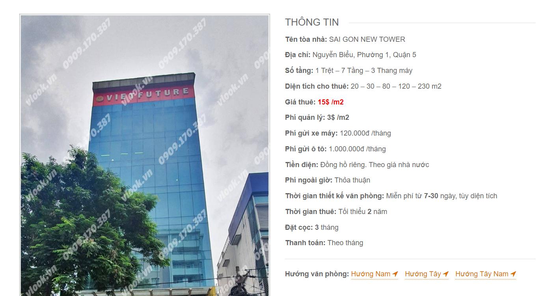 Danh sách công ty tại tòa nhà Sai Gon New Tower, Nguyễn Biểu, Quận 5