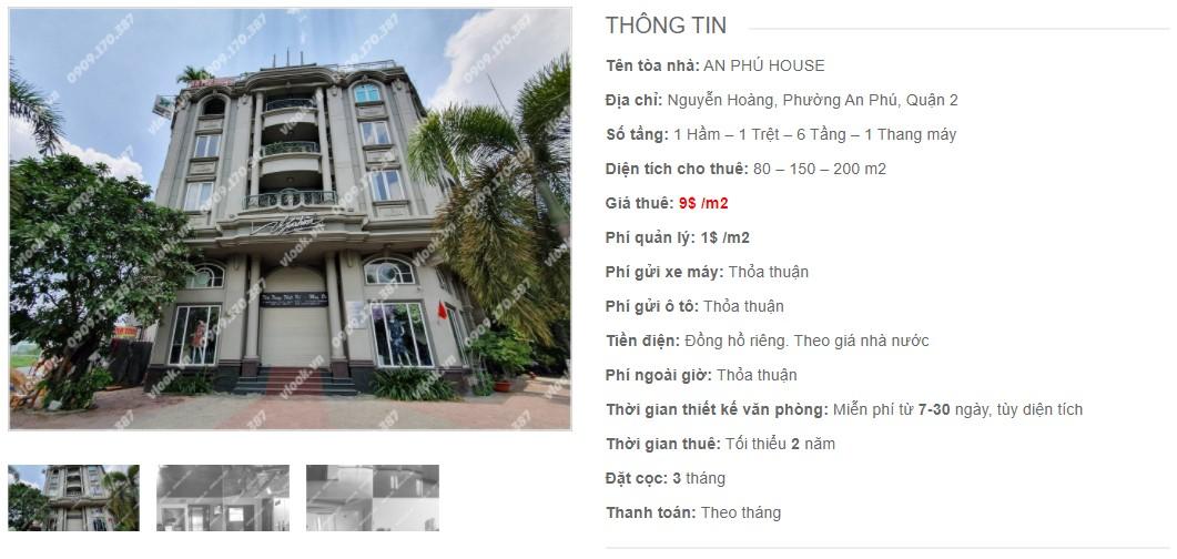 Danh sách công ty thuê văn phòng tại tòa nhà An Phú House, Quận 2