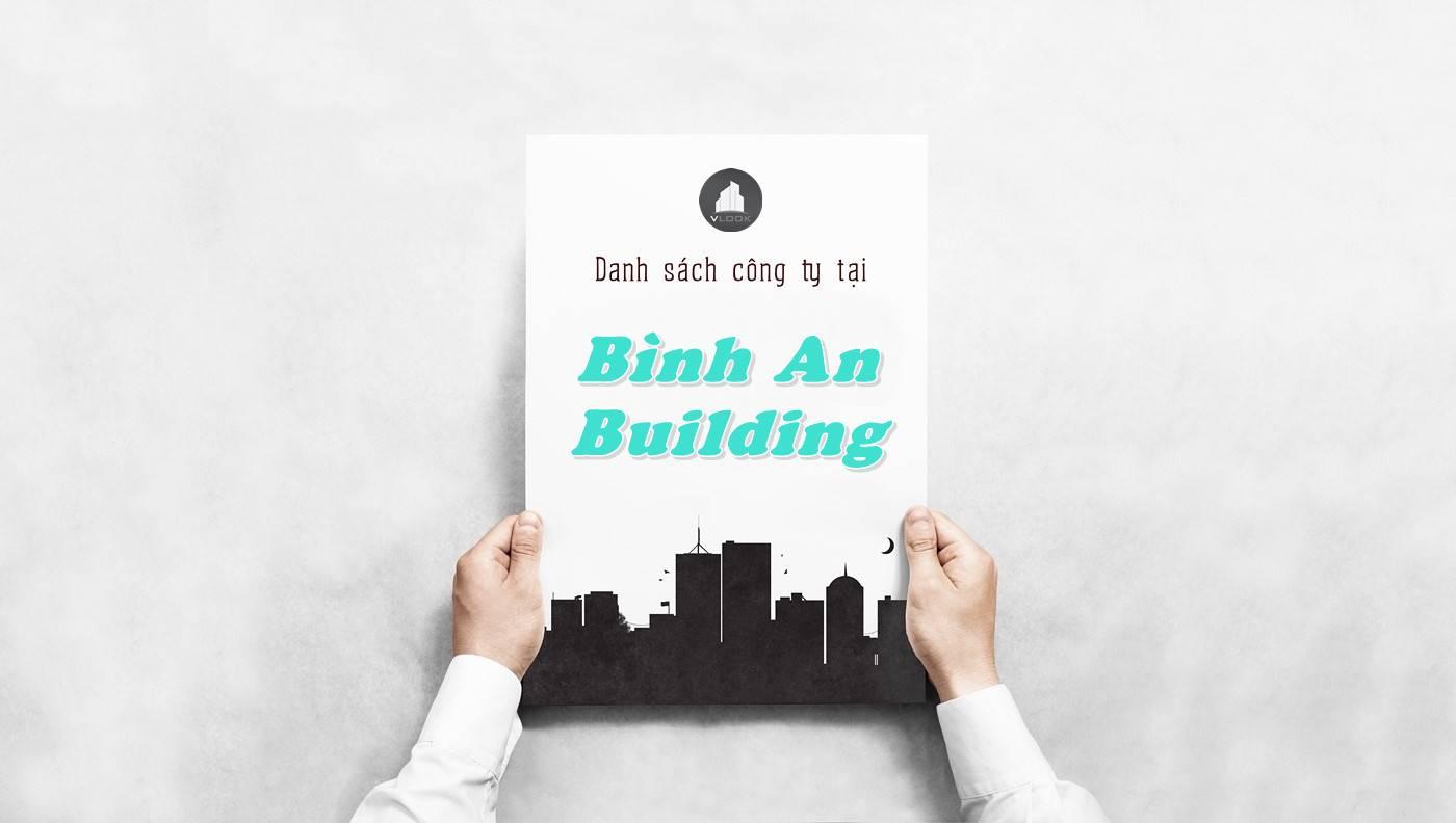 Danh sách công ty thuê văn phòng tại tòa nhà Bình An Building, Quận 2