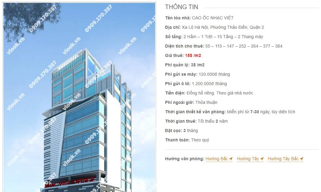 Danh sách công ty thuê văn phòng tại Cao ốc Nhạc Việt, Quận 2