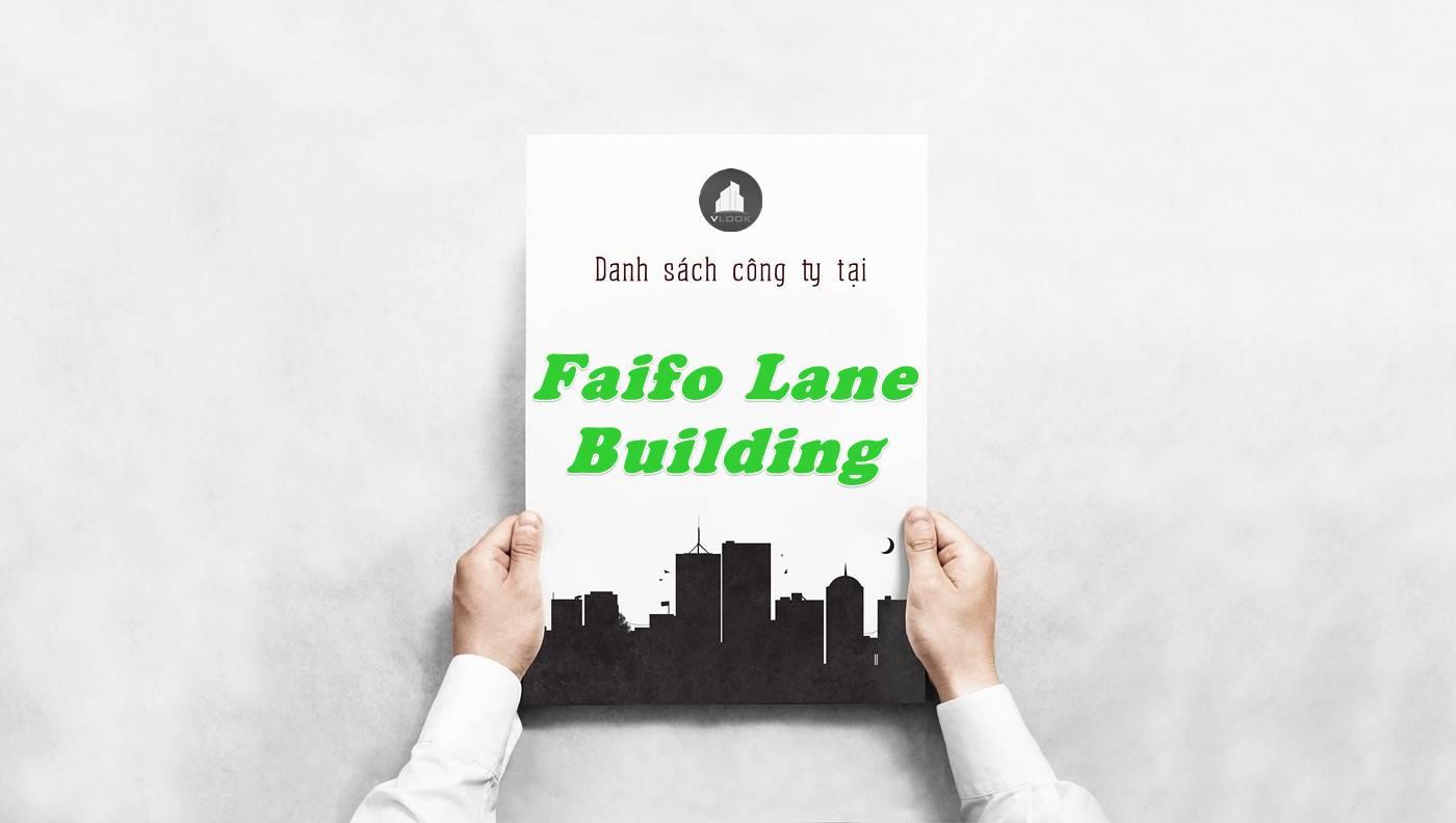 Danh sách công ty tại tòa nhà Faifo Lane Building, Quận 2