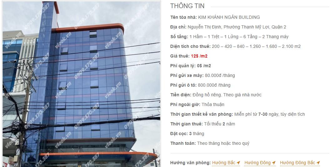 Danh sách công ty thuê văn phòng tại tòa nhà Kim Khánh Ngân Building, Quận 2