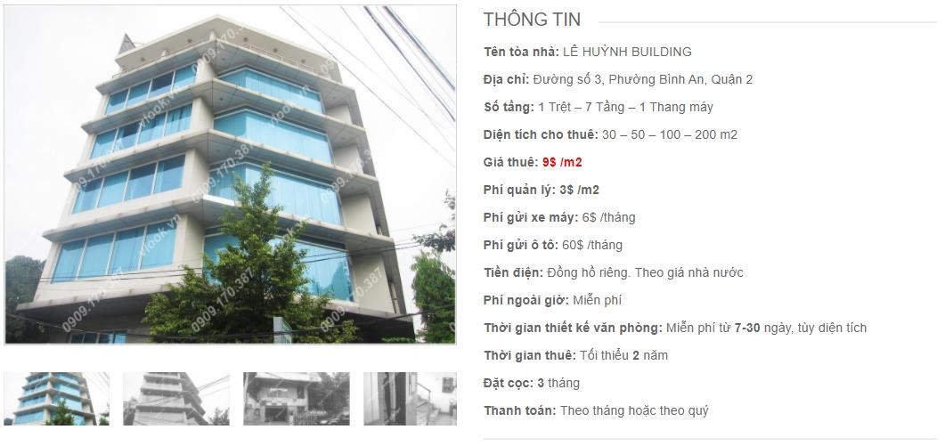 Danh sách công ty thuê văn phòng tại tòa nhà Lê Huỳnh Building, Quận 2