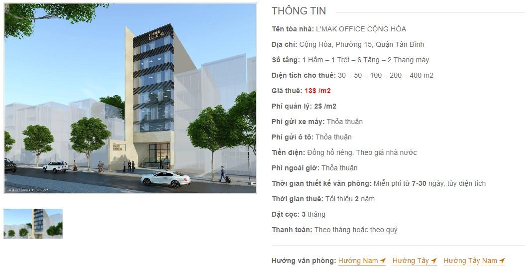Danh sách công ty tại tòa nhà L'Mak Office Cộng Hòa, Quận Tân Bình