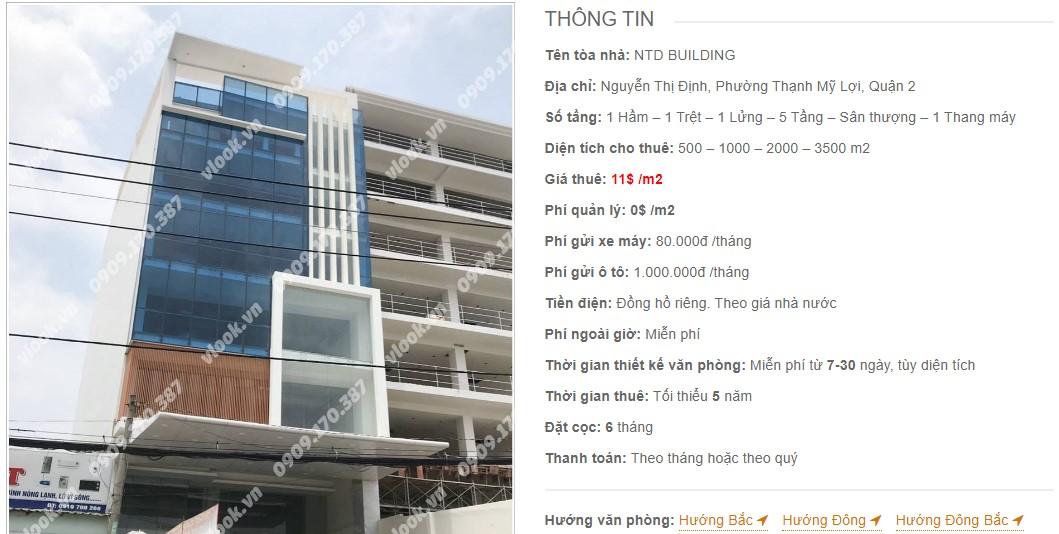 Danh sách công ty thuê văn phòng tại tòa nhà NTD Building, Quận 2