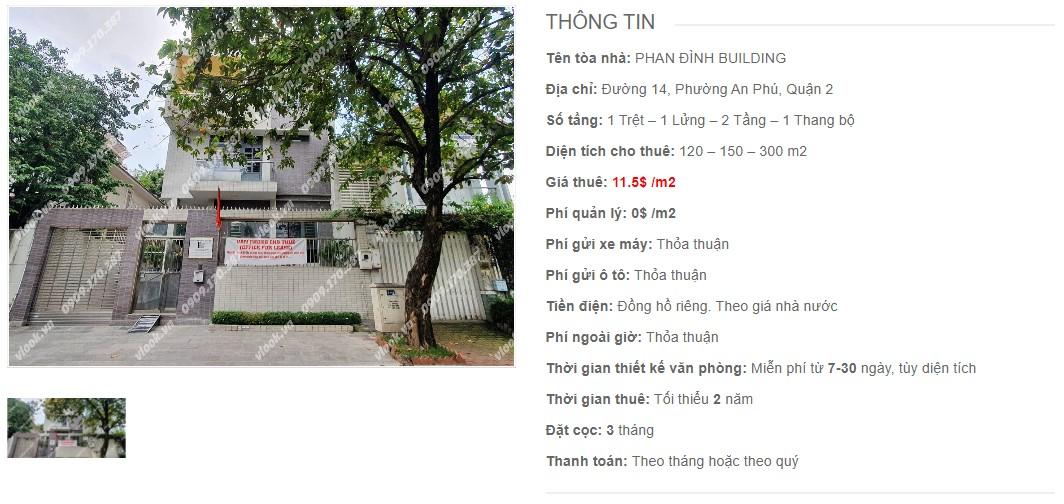 Danh sách công ty thuê văn phòng tại tòa nhà Phan Đình Building, Quận 2