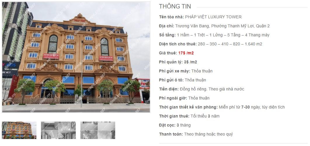 Danh sách công ty thuê văn phòng tại Pháp Việt Luxury Tower, Quận 2