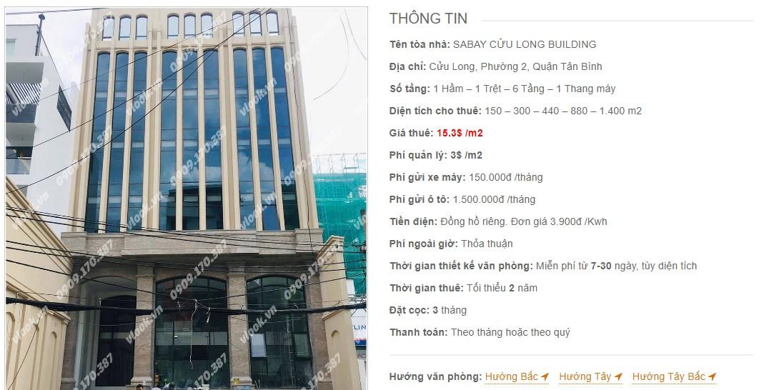 Danh sách công ty thuê văn phòng tại Sabay Cửu Long Building, Quận Tân Bình