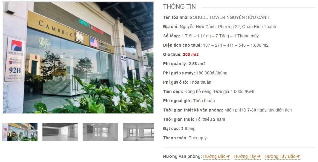 Danh sách công ty thuê văn phòng tại Sohude Tower Nguyễn Hữu Cảnh, Quận Bình Thạnh