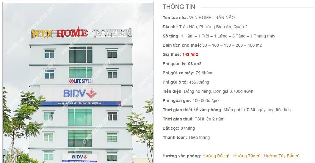 Danh sách công ty thuê văn phòng tại tòa nhà Win Home Trần Não, Quận 2