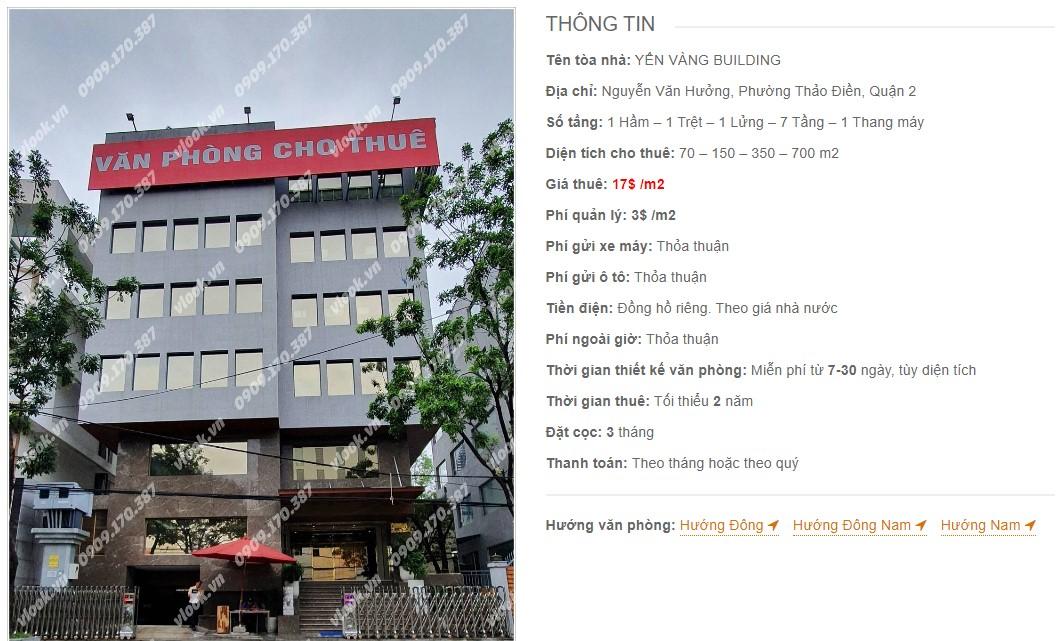 Danh sách công ty thuê văn phòng tại Yến Vàng Building, Quận 2