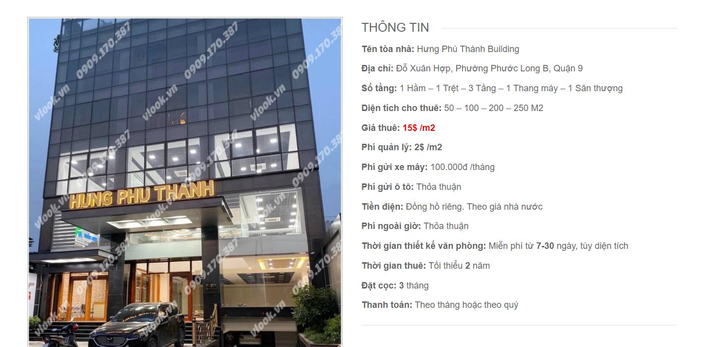 Danh sách công ty thuê văn phòng tại Hưng Phú Thành Building, Đỗ Xuân Hợp, Quận 9
