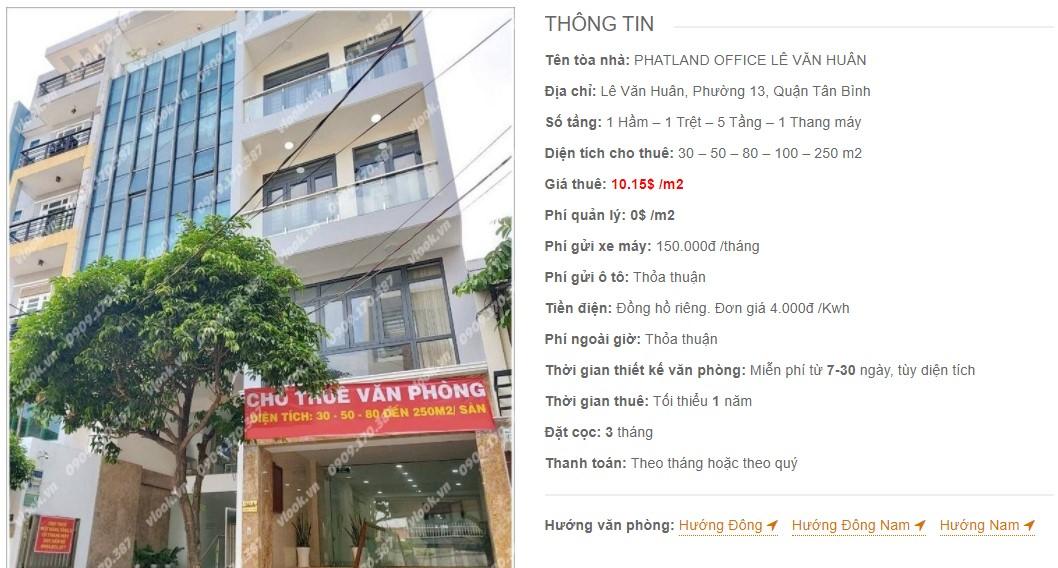 Danh sách công ty thuê văn phòng tại Phatland Office Lê Văn Huân, Quận Tân Bình