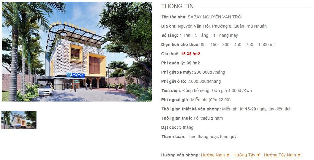 Danh sách công ty thuê văn phòng tại Sabay Nguyễn Văn Trỗi, Quận Phú Nhuận