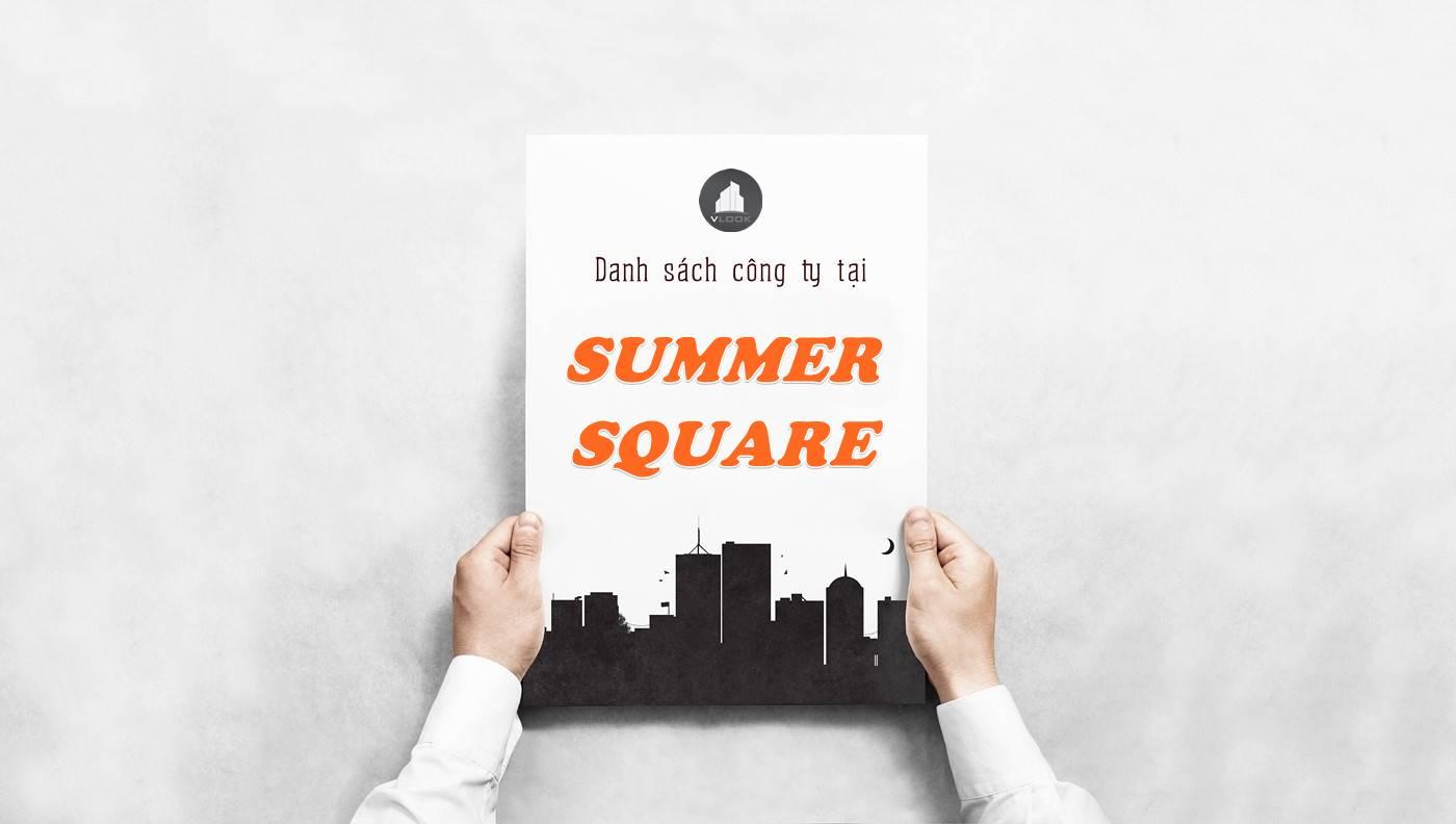 Danh sách công ty thuê văn phòng tại tòa nhà Summer Square, Quận 6