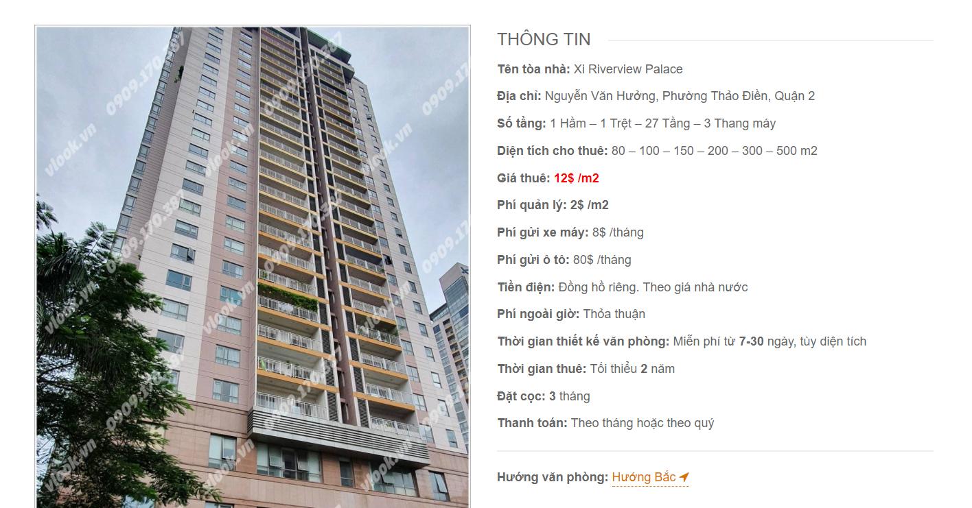 Danh sách công ty thuê văn phòng tại cao ốc Xi Riverview Palace, Nguyễn Văn Hưởng, Quận 2