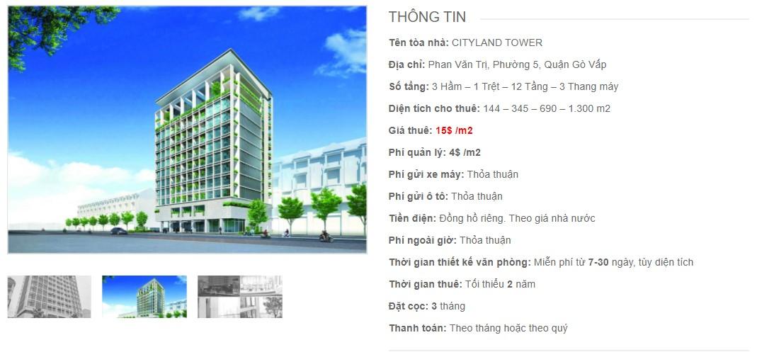 Danh sách công ty thuê văn phòng tại tòa nhà Cityland Tower, Quận Gò Vấp