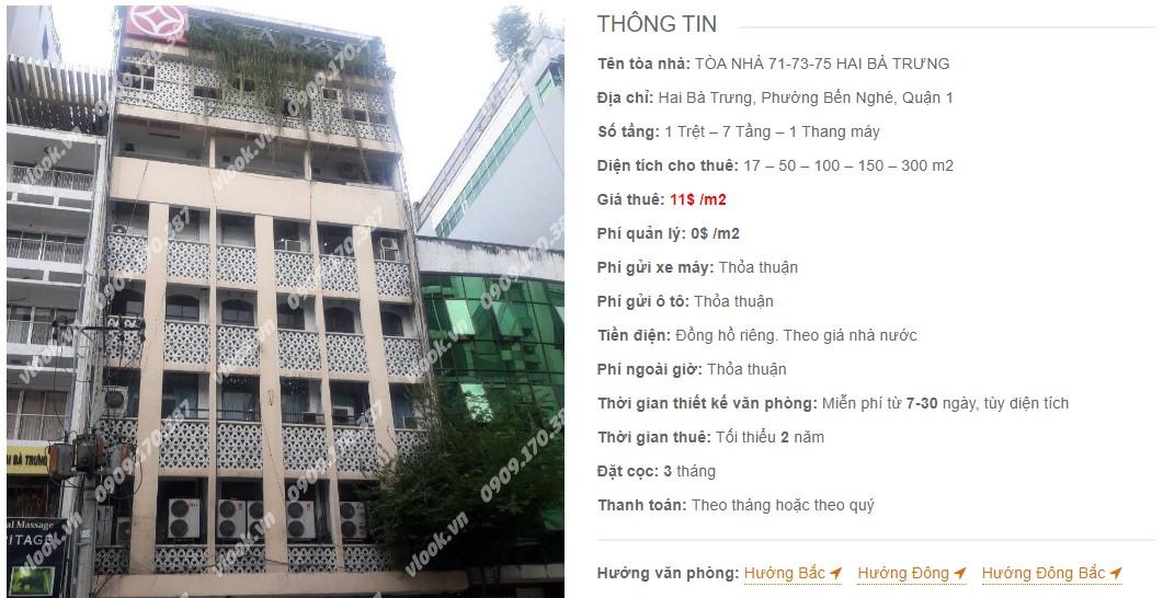 Danh sách công ty thuê văn phòng tại Tòa nhà 71-73-75 Hai Bà Trưng, Quận 1