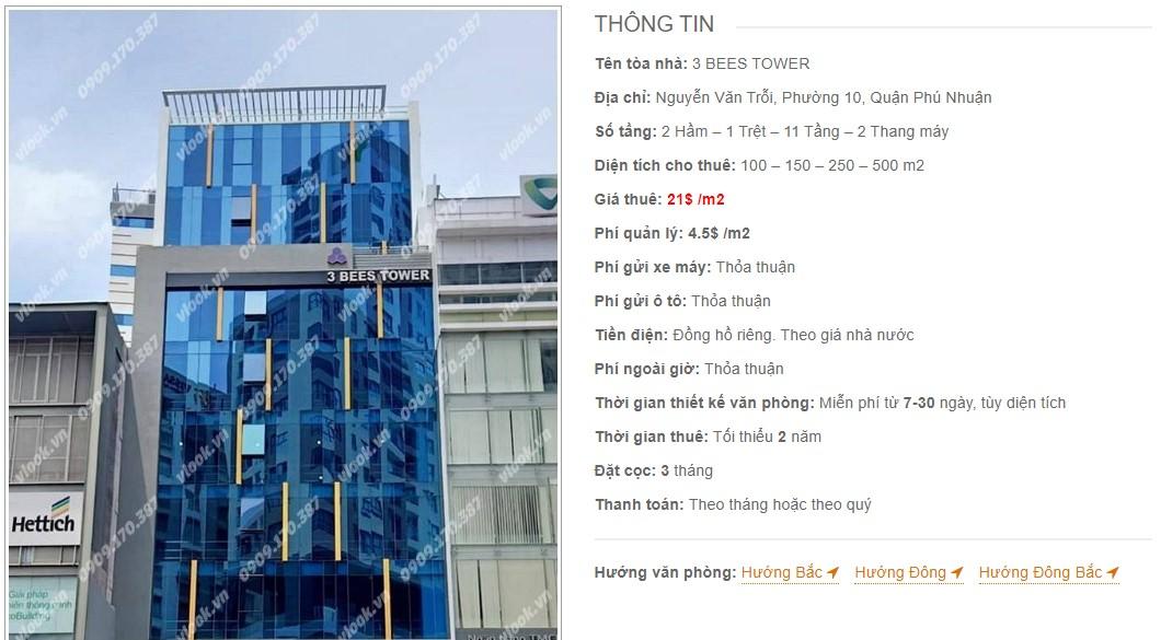 Danh sách công ty thuê văn phòng tại tòa nhà 3 Bees Tower, Quận Phú Nhuận