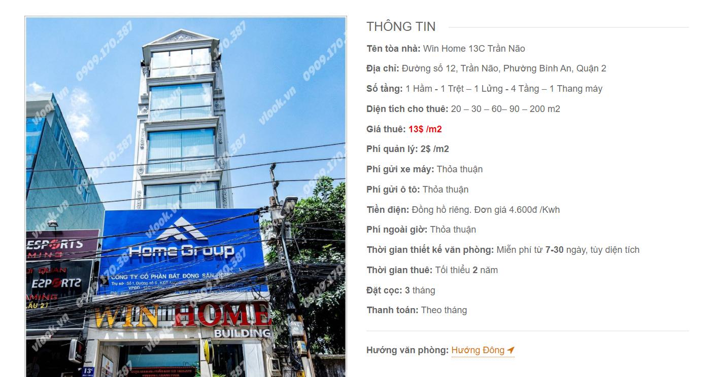 Danh sách công ty thuê văn phòng tại Win Home 13C Trần Não, Quận 2