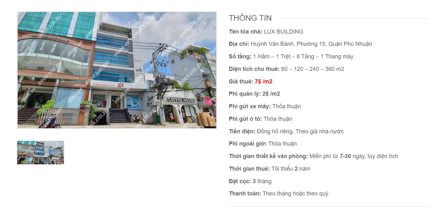 Danh sách công ty thuê văn phòng tại tòa nhà Lux Building, Huỳnh Văn Bánh, Quận Phú Nhuận