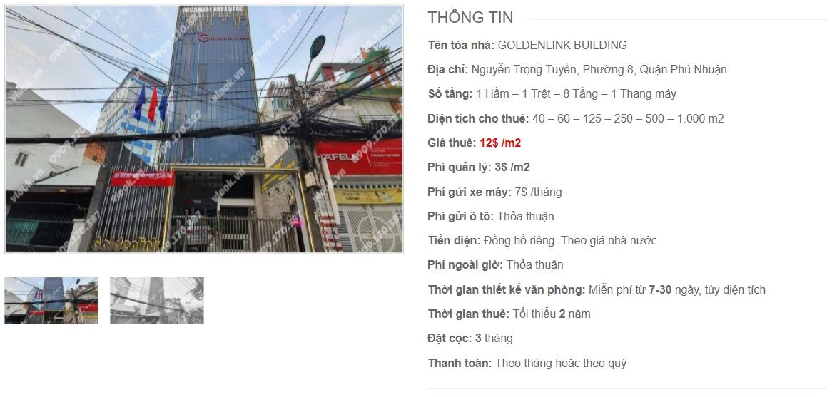 Danh sách công ty thuê văn phòng tại Goldenlink Building, Quận Phú Nhuận