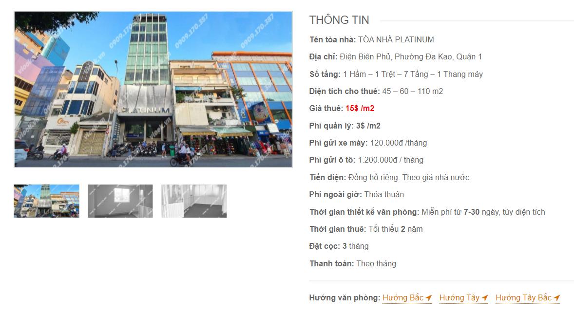 Danh sách công ty thuê văn phòng tại Tòa nhà Platinum, Điện Biên Phủ, Quận 1