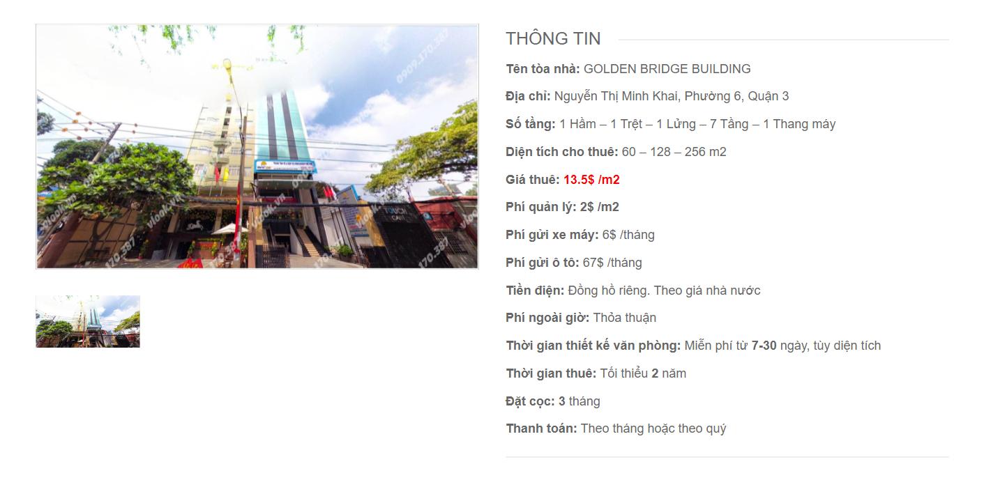 Danh sách công ty thuê văn phòng tại tòa nhà Golden Bridge Building, Nguyễn Thị Minh Khai, Quận 3