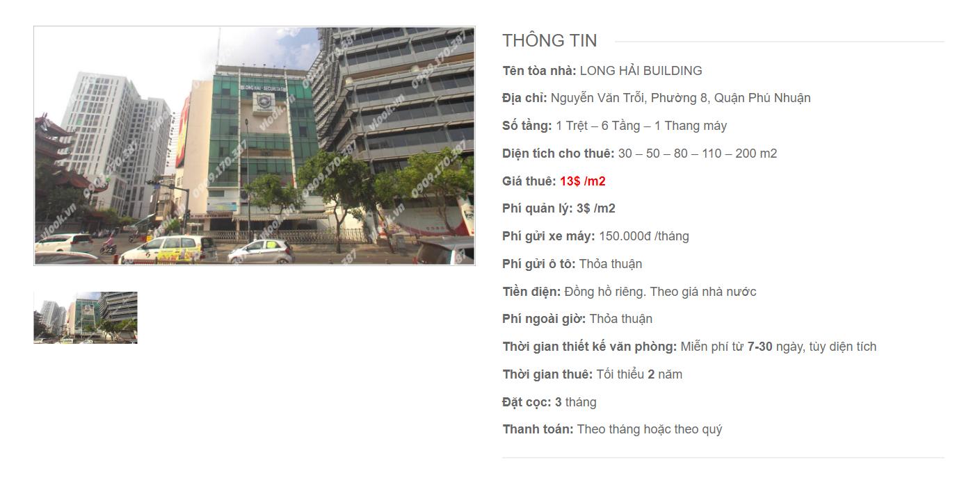 Danh sách công ty thuê văn phòng tại tòa nhà Long Hải Building, Nguyễn Văn Trỗi, Quận Phú Nhuận
