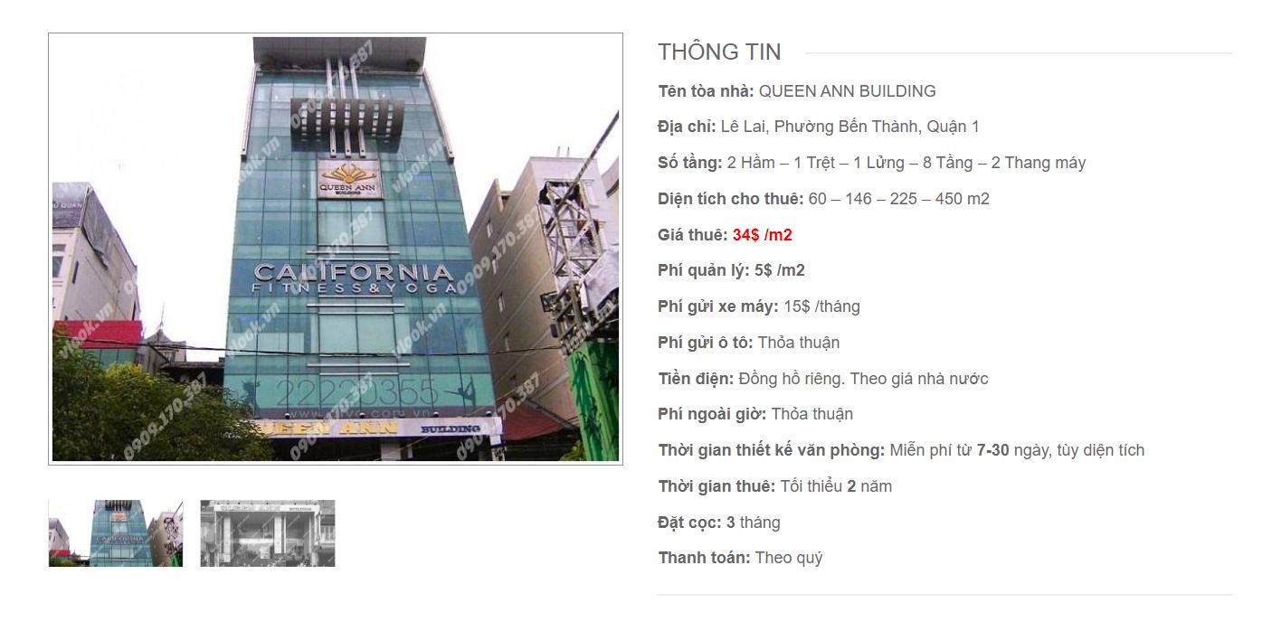 Danh sách công ty thuê văn phòng tại Queen Ann Building, Lê Lai, Quận 1