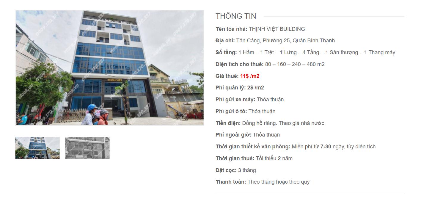 Danh sách công ty thuê văn phòng tại tòa nhà Thịnh Việt Building, Tân Cảng, Quận Bình Thạnh