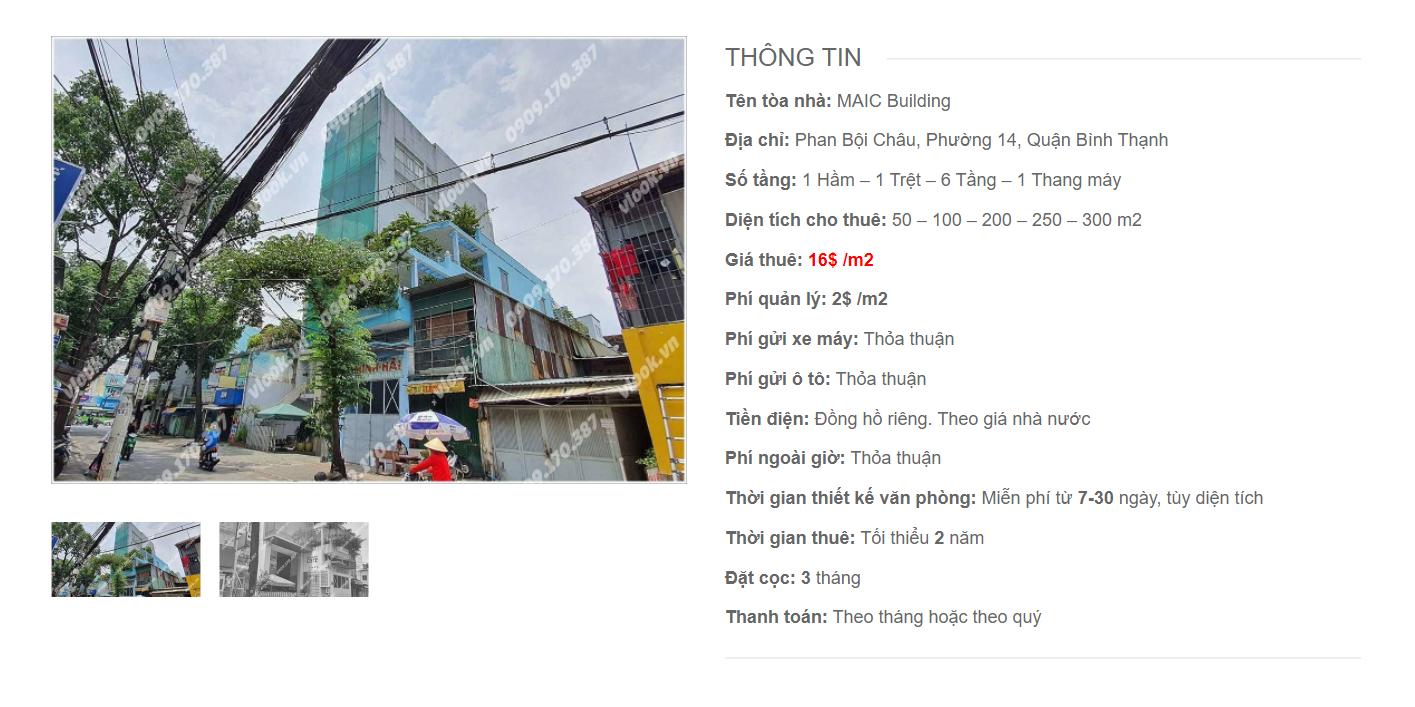 Danh sách công ty thuê văn phòng tại tòa nhà MAIC Building, Phan Bội Châu, Quận Bình Thạnh