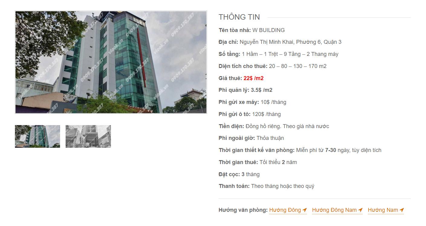 Danh sách công ty thuê văn phòng tại tòa nhà W Building, Nguyễn Thị Minh Khai, Quận 3