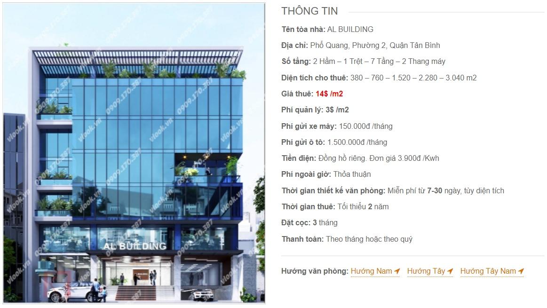 Danh sách công ty thuê văn phòng tại tòa nhà AL Building, Quận Tân Bình
