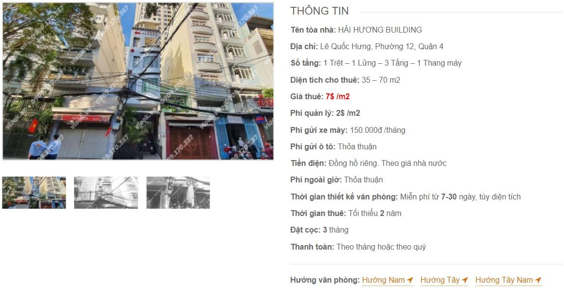 Danh sách công ty thuê văn phòng tại tòa nhà Hải Hương Building, Quận 4
