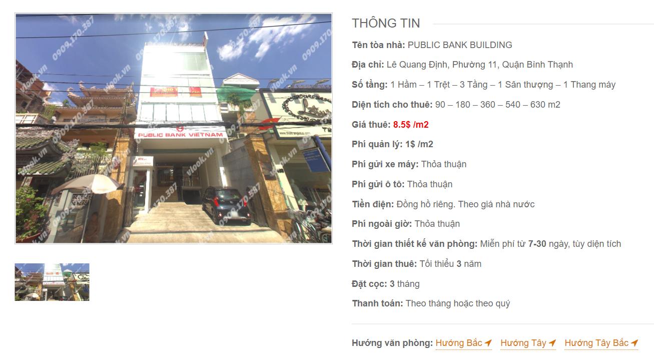 Danh sách công ty thuê văn phòng tại tòa nhà Public Bank Building, Lê Quang Định, Quận Bình Thạnh