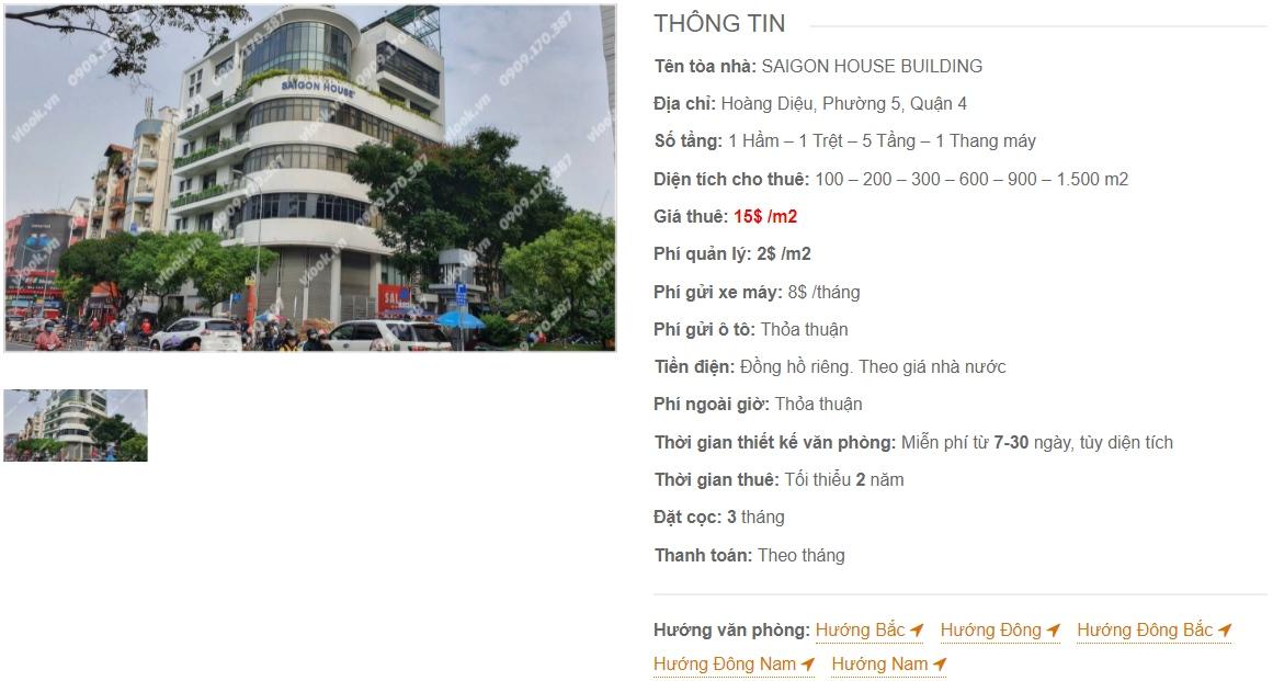 Danh sách công ty thuê văn phòng tại tòa nhà Saigon House Building, Quận 4