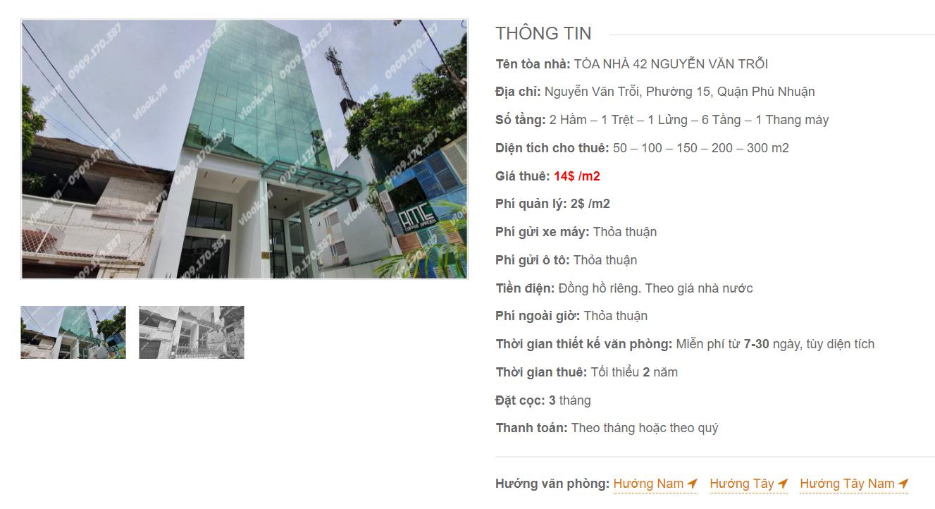 Danh sách công ty thuê văn phòng tại Tòa nhà 42 Nguyễn Văn Trỗi, Quận Phú Nhuận