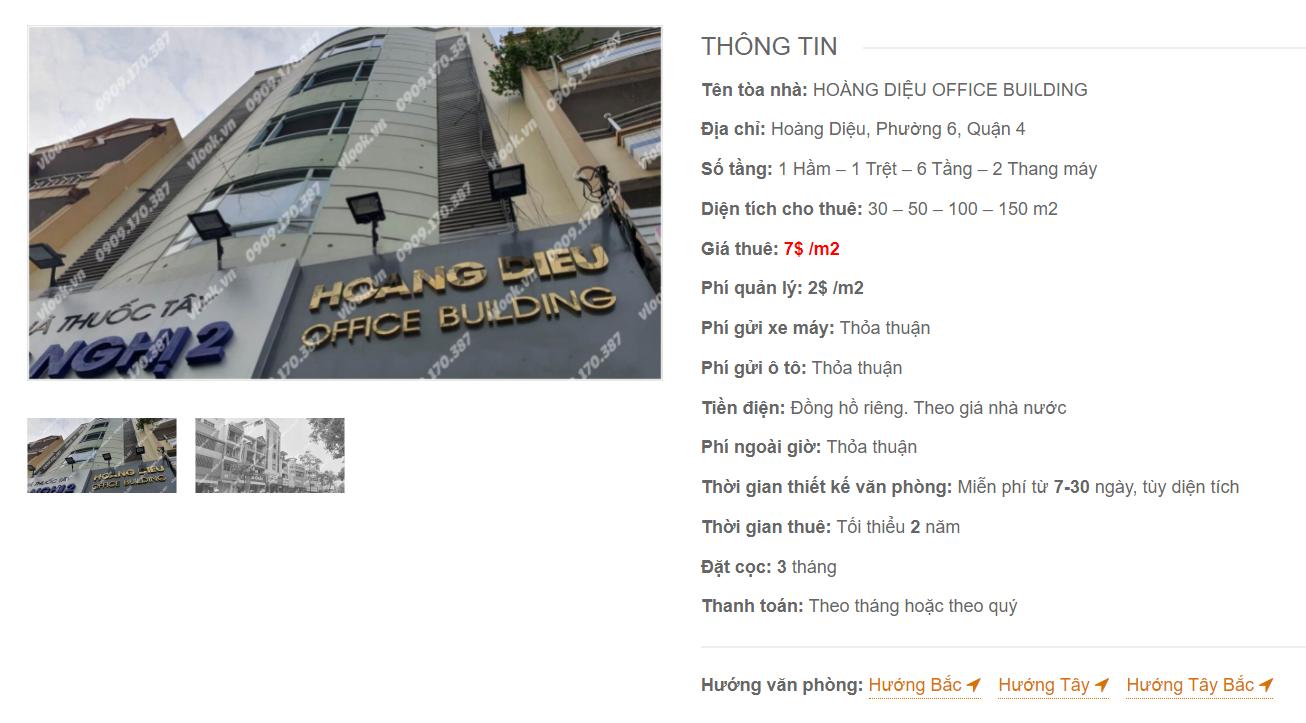 Danh sách công ty thuê văn phòng tại tòa nhà Hoàng Diệu Office Building, Quận 4