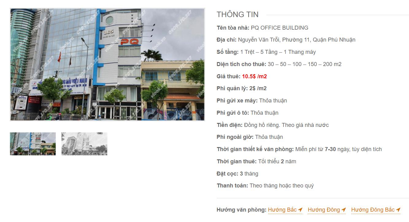 Danh sách công ty thuê văn phòng tại tòa nhà PQ Office Building, Nguyễn Văn Trỗi, Quận Phú Nhuận
