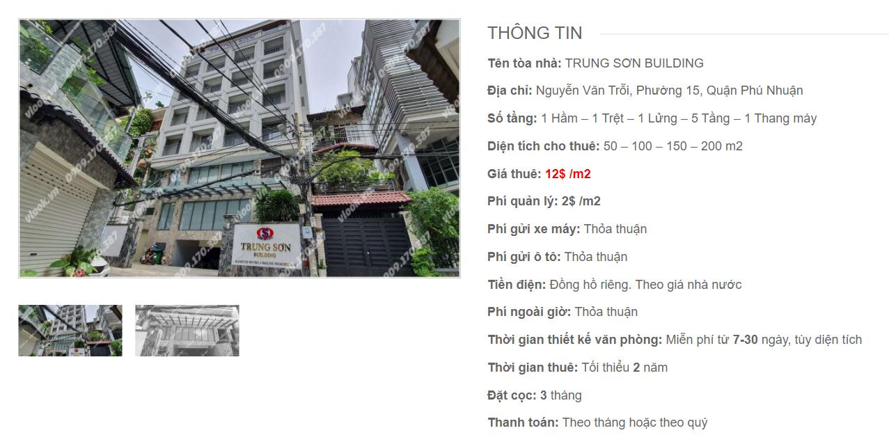 Danh sách công ty thuê văn phòng tại tòa nhà Trung Sơn Building, Nguyễn Văn Trỗi, Quận Phú Nhuận