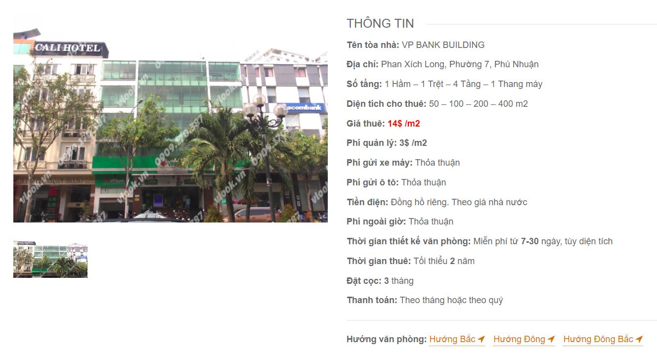 Danh sách công ty thuê văn phòng tại tòa nhà VP Bank Building, Phan Xích Long, Quận Phú Nhuận